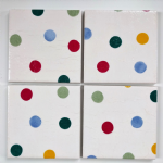 4 Ceramic Coasters in Emma Bridgewater Polkadots
